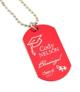 Personalized, Graduation Dog Tag, Red