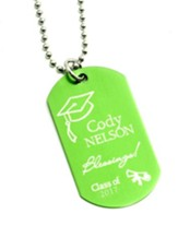 Personalized, Graduation Dog Tag, Green