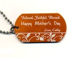 Personalized, Mother's Day Dog Tag, Orange