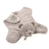 Grayson Bear Plush Blanket, Cozy Gray