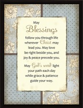 May Blessings follow You Plaque