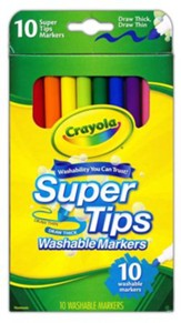 Crayola, Super Tips Washable Fine Line Markers, 10 Pieces