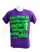 Jesus Offers Protection Against Zombies Shirt,  Purple, Small - Slightly Imperfect