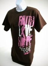 Faith, Hope and Love Pink Ribbon SHirt, Brown, Medium, Breast Cancer Awareness