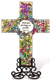 With God All Things Are Possible Cross Suncatcher