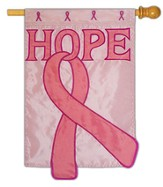 Hope, Pink Ribbon Applique Flag, Large