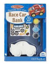 Race Car Bank, Decorate Your Own