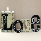 Love Cut Out Word with Tea Light Holder