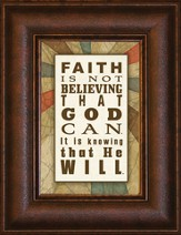 Faith is Not Believing that God Can Mini Framed Print