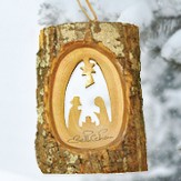 Olive Tree Bark Nativity Ornament