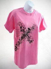 Flower Cross Shirt, Pink, Extra Large