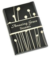 Personalized, Metal Business Card Holder, Amazing  Grace, Black