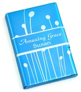 Personalized, Metal Business Card Holder, Amazing Grace, Blue