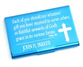 Personalized, Metal Business Card Holder, Faithful Stewards of God, Blue
