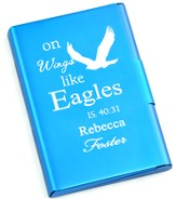 Personalized, Metal Business Card Holder, Like Wings On Eagles, Blue