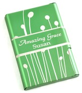 Personalized, Metal Business Card Holder, Amazing Grace, Green