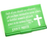 Personalized, Metal Business Card Holder, Faithful Stewards of God, Green