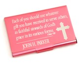 Personalized, Metal Business Card Holder, Faithful Stewards of God, Pink