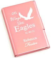 Personalized, Metal Business Card Holder, Like Wings On Eagles, Pink