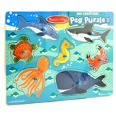 Sea Creatures Peg Puzzle, 7 Pieces