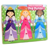 Dress-Up Princesses Peg Puzzle, 9 Pieces