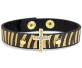 Bling Cross Leather Bracelet, Animal