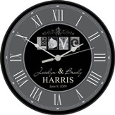 Personalized, Love Clock, Round, Gray and Black