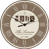 Personalized, Home Round Clock, Cream