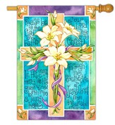 Easter Lily Cross Flag, Large
