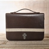 Bible Cover - Large Luxleather Brown Cross