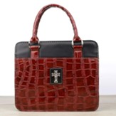 Bible Cover - Medium Croc Embossed Burgundy Cross