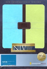 Zondervan NIV Study Bible, Updated Edition, Italian Duo-Tone, Pool Blue/Melon Green 1984, Case of 12