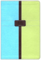 NIV Life Application Study Bible, Italian Duo-Tone, Pool Blue/Melon Green 1984 - Imperfectly Imprinted Bibles