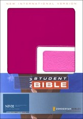 NIV (1984) Student Bible--soft leather-look, razzleberry/bubble gum pink