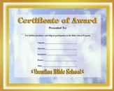 Heavenly Treasure VBS Student Certificate of Award