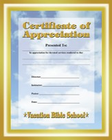 Heavenly Treasure VBS Student Certificate of Appreciation
