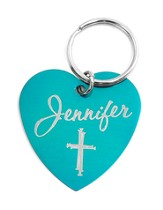 Personalized, Teal Heart Keychain with Name and Cross