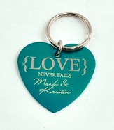 Personalized, Love Never Fails Heart Keychain, Teal