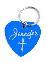 Personalized, Blue Heart Keychain with Name and Cross