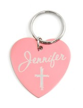 Personalized, Pink Heart Keychain with Name and Cross