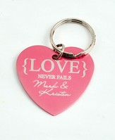 Personalized, Love Never Fails Heart Keychain, Pink