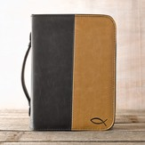 Bible Cover with Debossed Ichthus, Black and Tan, Large