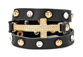 Wrap Cross Bracelet, Black