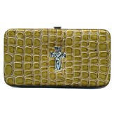 Croc Wallet with Embossed Cross, Green