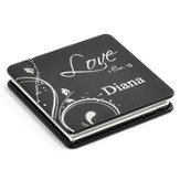 Personalized, Love Compact Mirror, Black