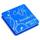 Personalized, Mother's Day Aluminum Compact Mirror, Proverbs 31, Blue