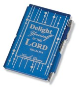 Personalized, Delight in the Lord Metal Memo Pad, Blue