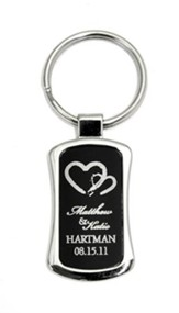 Personalized, Two Hearts Keychain, Black