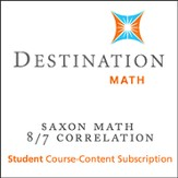 Saxon 8/7 (3rd Edition) Destination Math Levels 3, 4 & 5 12-Month Online Subscription (Content Only)