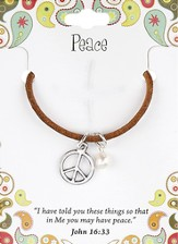 Peace Leather Necklace, Peace Sign Charm